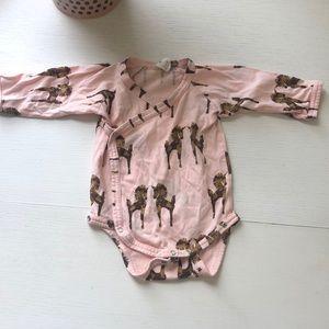 Kate Quinn Pale Pink Horse Print onesie
